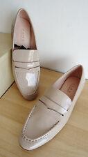 Nuevo Zara Beige Patent bajo tacón alto Mocasines Zapatos Talla Uk 7 UE 40 EE. UU. 9