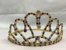 Tiara Gold Tone Blue Clear Rhinestone Crown Wedding Bling