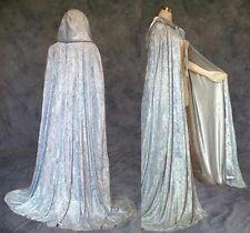 50 in Lined Silver Velvet Medieval Renaissance Cloak Cape Wedding Wicca LARP