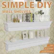 2pcs Wall Floating Shelf Bookshelf for Home Office Shop Display MDF White