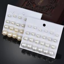12 Pairs Fashion White/Beige Big Small Pearl Earrings Set Women Ear Stud Jewelry