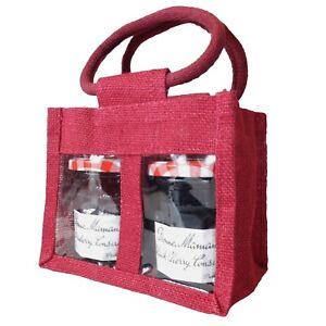 2 JAR JUTE BAGS in RED - Gift Bag for Jams, Chutneys, Pickles & Preserves x 10