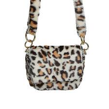Leopard Print Fluffy Faux Fur Beige Ladies Fashion Fluffy Shoulder Bag strap