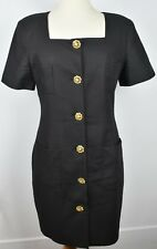 Ross Mayer size 12 Large Black Cocktail Dress Gold Buttons pockets %100 cotton
