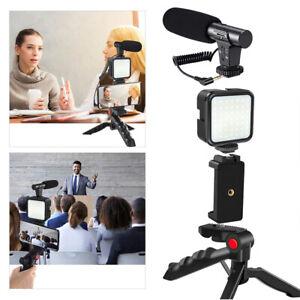 Smartphone Vlogging Set Video Kit With Tripod Microphone LED Light Phone Holder