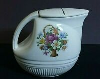 """Salem China Hot Co. Needlepoint 16 ounce 4 1/2"""" pitcher & lid All over crazing"""