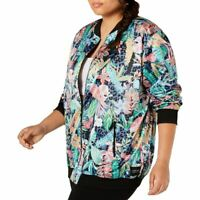 CALVIN KLEIN PERFORMANCE NEW Women's Plus Size Printed Bomber Jacket Top 2X TEDO