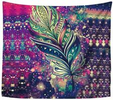 """Tapestry Wall Hanging 60"""" x 80"""" Colorful Abstract Feather Art Vivid Boho Gypsy"""