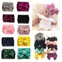 Unisex Baby Velvet Big Bow Tie Head Wrap Turban Top Knot Headband Newborn Kids