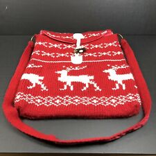 Red Knit Reindeer Crossbody Vintage OLD NAVY Purse Shoulder Bag