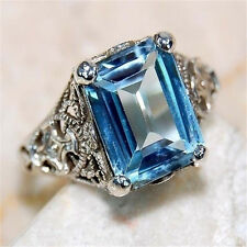 Women Men 925 Silver Square Aquamarine Rings Bridal Party Jewelry Gift Size 8