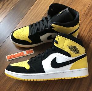 Nike Air Jordan 1 Mid Yellow Toe Men's 11 Nubuck 852542-071 Black White 2019
