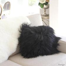 "GENUINE ICELANDIC SHEEPSKIN LONG SHAGGY HAIR  FUR CUSHION 40cm 16"" INSERT  BLACK"