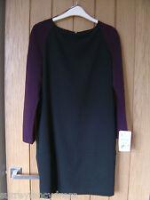 Zara Basic Lined Black Purple Dress Size S Small NEW (tags) (Ref Z) Ex Con