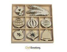 Craft Emotions BOX of 40 WOODEN SHAPES ORNAMENTS XMAS BALLS 811500/0151