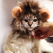 Furry Pet Dog Hat Costume Lion Mane Wig For Cat Halloween Ears SMALL SIZE