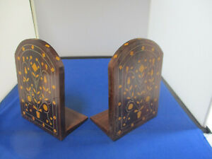 Bookends Antique Vintage Pair Inlaid Foral Pot Design W/Hinged Base