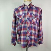 Bar M Rancher Mens Medium Multi Color Plaid Vintage Western Pearl Snap Shirt