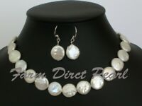 "18"" Inch Set Genuine White Coin Pearl Necklace Earrings Freshwater Silver"