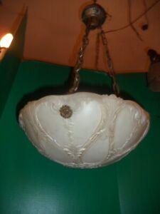 Antique cast glass bowl light fixture