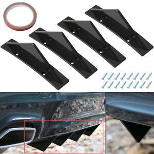 Universal ABS Black Rear Bumper 4 Shark Fins Spoiler Wing Lip Diffuser Modified