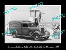 OLD POSTCARD SIZE PHOTO OF LOS ANGELES THE LA CITY LIFE GUARD SERVICE CAR 1930