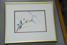 Artist Unknown Framed And Matted Watercolor Signed Airy Floral Plant Painting