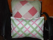 Nautica & Chaps lot of 2 cotton pink green white pillows with removable inserts