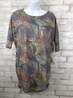 LuLaRoe Irma Tunic Top Distressed Blue Tribal Print High Low Hem T Shirt Size XS
