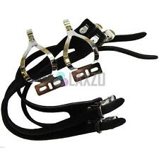 New Bicycle Pedal Toe Clip Exustar Stainless Steel Clip Double Leather Straps