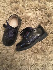 Baby Girls Midnight Blue Patent Leather Shoes With Silk Laces Size Infant UK 5