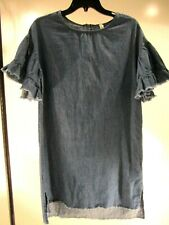 NWOT Womens Denim Dress with Fringe Detail, Size Small by Girl Krazy