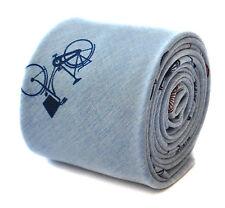 Frederick Thomas Skinny Cravatta lino blu chiaro con stampa bicicletta ft1899 RRP £ 19.99