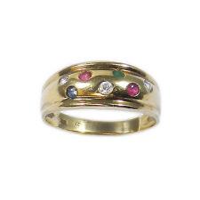 Edelstein 333 Gold Ring mit Saphir, Rubin, Smaragd & Zirkonia - Multicolor