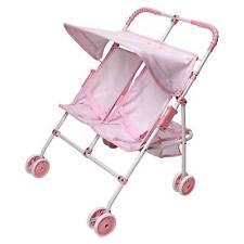Badger Basket Folding Double Doll Umbrella Stroller - Pink/Gingham Pink 01442