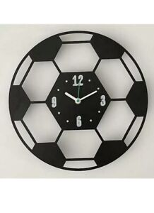 Football Wall Clock, Analogue 30cm.  Sports Clock, Children's Kids Bedroom Clock