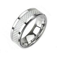 6mm Tungsten Carbide White Carbon Fiber Wedding Band Men Women Engagement Ring