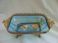 ANTIQUE FRENCH GILT BRASS ENAMELED GLASS RING HOLDER,PIN TRAY,ART NOUVEAU.