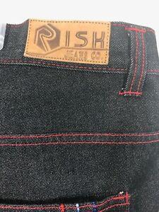 Risk Jean Men's Blue Jeans Size 44 X 32 Med Washed Embroidered Back Pockets NWT