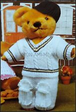 "Knitting Pattern TEDDY BEAR Dolls Clothes CRICKET KIT SPORTS OUTFIT 15-19"" DK"