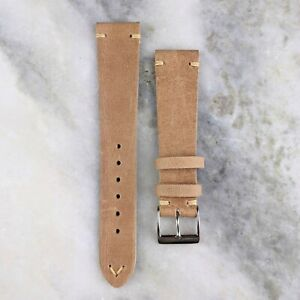 Vintage Style Calfskin Leather Watch Strap - Taupe - 20mm/22mm