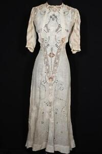 RARE ANTIQUE FRENCH EDWARDIAN SILK EMBROIDERED COTTON & IRISH LACE DRESS SIZE 2