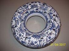 VINTAGE ROUND CERAMIC FLOWER FROG PORTUGAL, DECORATIVE FLORAL BLUE & WHITE  FS