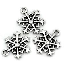 10 Pendentifs breloque Forme Flocon de Neige 18 x 14 mm