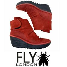 FLY London Yegi Ankle Boots Booties Red Suede Wedge Sz US 7.5-8 EUR 38