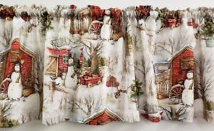 Winter Barn Snowman Christmas Valances or Curtains