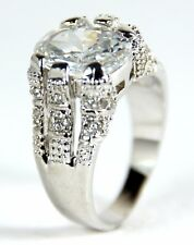 Men's 10 Carat White Gold filled Clear crystal ring Jewellery UK Size V