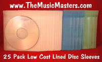 NEW 25 Pack Lined CD, DVD, Blu-Ray Disc Protective Storage Case Sleeves Holders