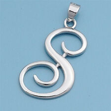 Alphabet Initial Pendant Sterling Silver 925 Rhodium Plated Jewelry Letter S