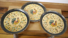 Set of 3 Vintage Country French Rooster Shabby Roses Paper Mache Tray JAPAN